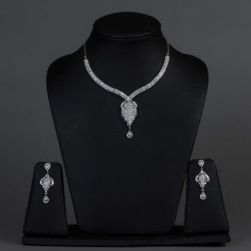 Featuring this Rhodium Plated American Diamonds Necklace Set in our wide range of Sets. Grab yourself one. Now!
