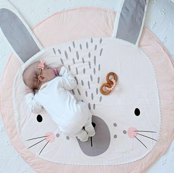Cartoon Round Animal Pattern Play Rugs Soft Cotton Baby Toddler Play Mat Crawling Blanket for Baby Girl Boy Bedroom Decor Pink Rabbit