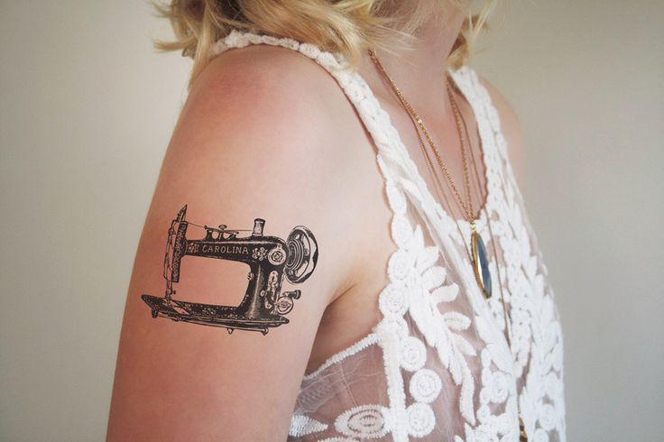 Klassisches temporäres Nähmaschinen Tattoo  von Tattoorary auf DaWanda.com