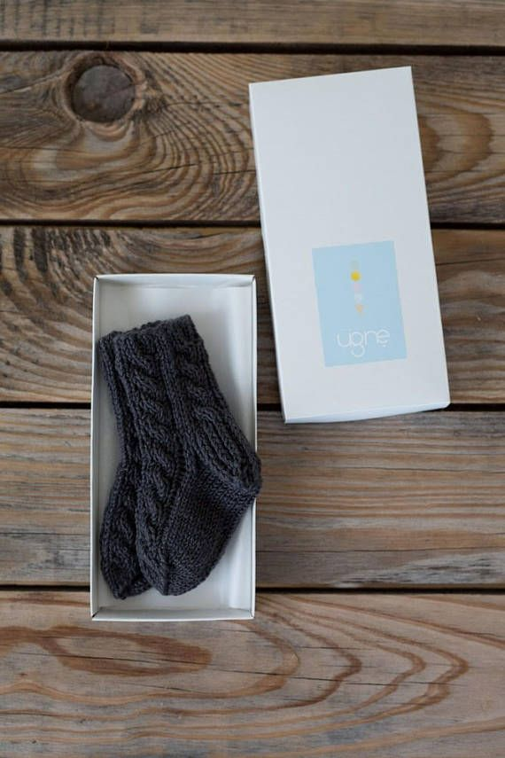 Grey Knitted Socks  Gender Neutral Socks  Baby Boy Clothes