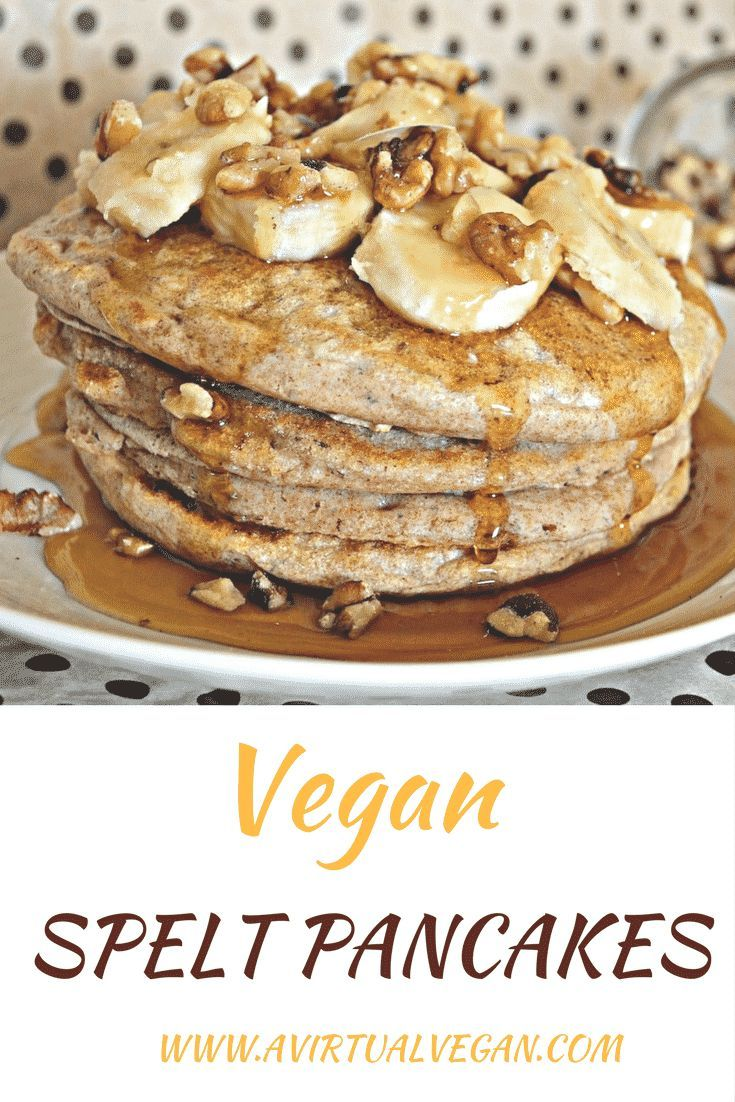 Healthier Vegan Spelt Pancakes. No eggs, no dairy. You can be vegan and eat fluffy pancakes! via @avirtualvegan