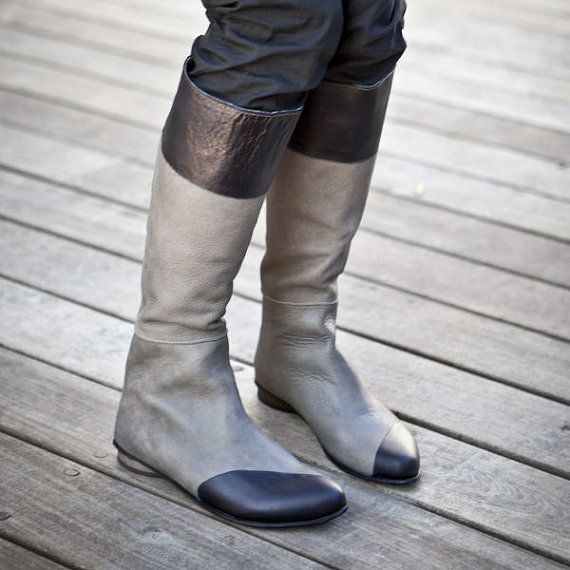 50% OFF all BOOTS Two Tone Grey and Black leather boots / flat leather boots / Tall Grey riding boots / Low heel boots / Women winter boots