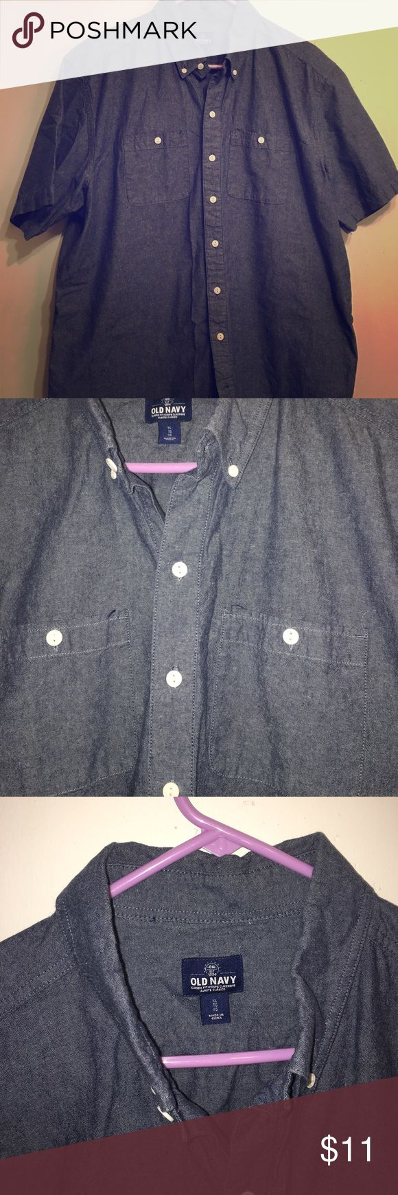 Old navy short sleeve denim shirt for men Old navy dark blue denim shirt with white buttons and short sleeves Old Navy Shirts Casual Button Down Shirts