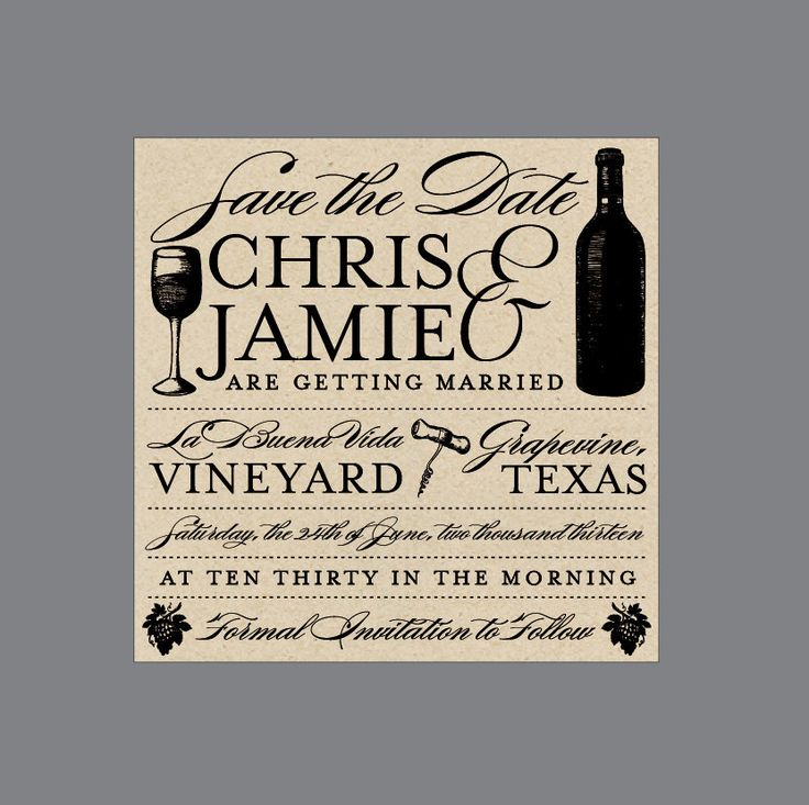 Vintage Antique Victorian Poster Style Rustic Vineyard Wine Bottle Wedding Save the Date by JKDesignOrlando on Etsy https://www.etsy.com/listing/114516700/vintage-antique-victorian-poster-style