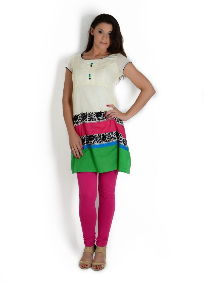 Ivory colored kurta with pink and green tier detail | Globus Stores Pvt. Ltd.