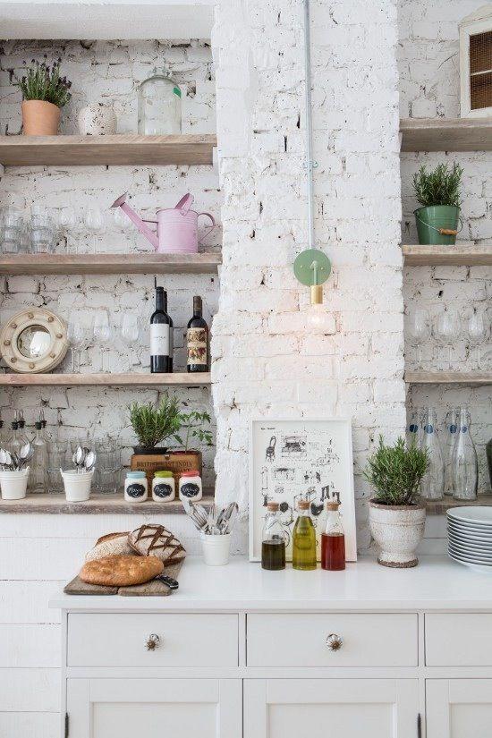 White brick kitchen wall