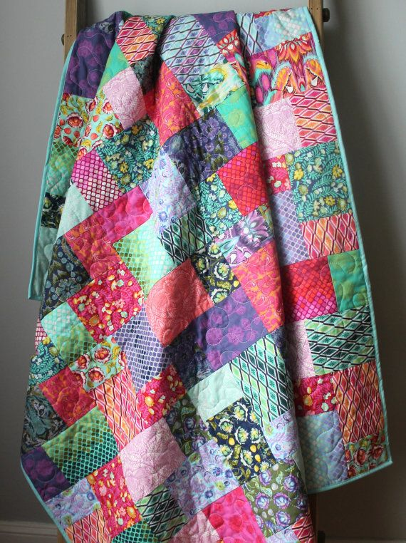 Modern Lap Quilt- Eden Quilt This quilt is completed and ready to ship to you! This modern, bold lap quilt features all the fabrics from Tula Pinks