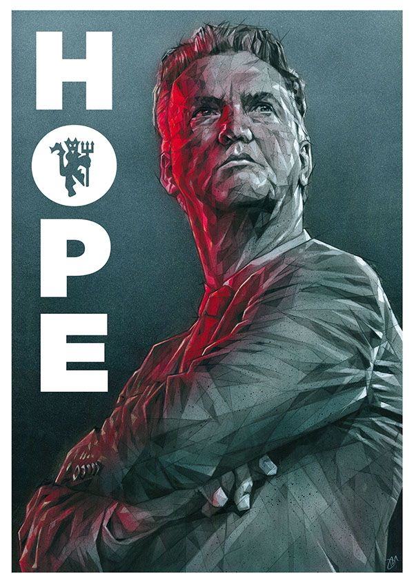 LVG - Hope by Dave Merrell, via Behance #manutd. Gota check Daves website out..This guys work is awesome and very detailed !!