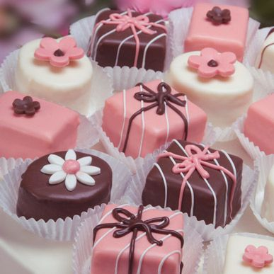 Pink & Brown Girly Girl Petits Fours :) .. wish I had these for my sweet 16!