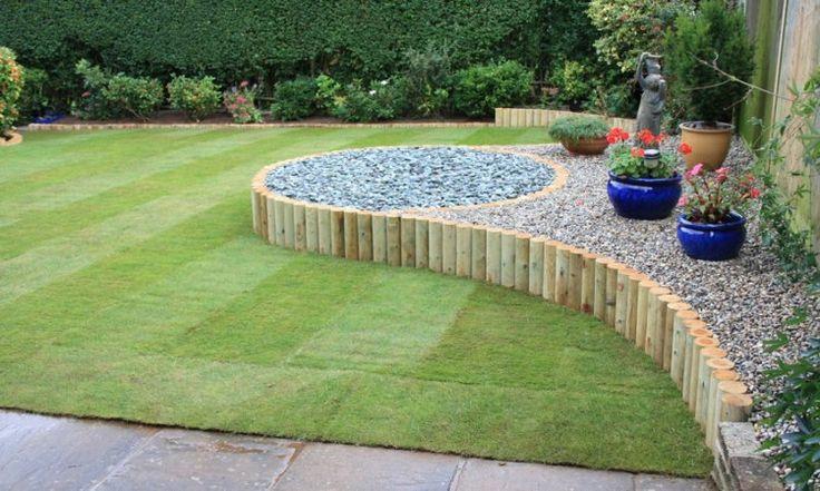 bordures de jardin -rondins-bois-déco-gravier-décoratif-pierre-concassée