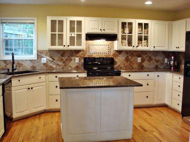 White Kichen Cabinets With Brown Granite Countertops In 2020 Brown Granite Countertops Painted Kitchen Cabinets Colors White Kitchen Decor