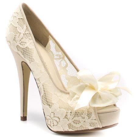 Gorgeous Cream Lace Shoes