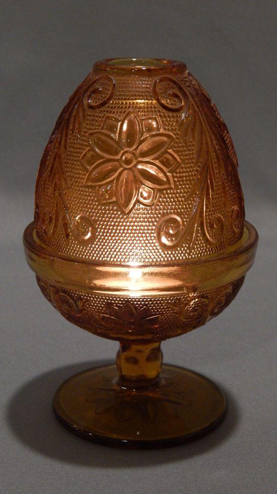 High Quality Vintage Tiara Sandwich Glass Amber Fairy Lamp By SlyfieldandSime, $22.00