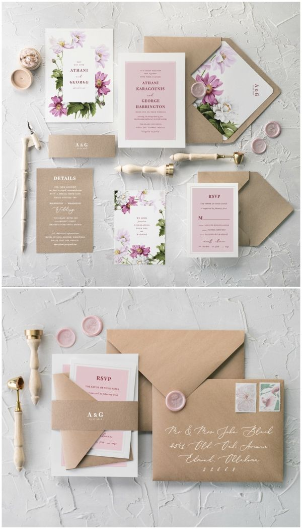 Geometric Pink Wedding Invitations Vintage Flowers Invites Cheap