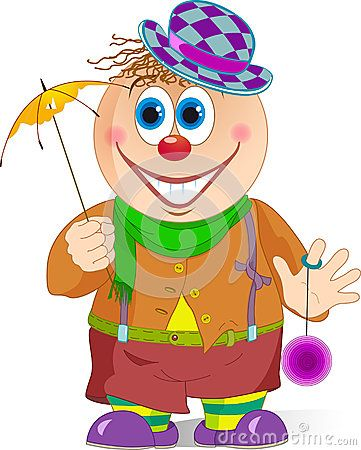 The illustration shows a funny cartoon clown with a umbrella and toy in hands. Illustration done in isolation on a white background.