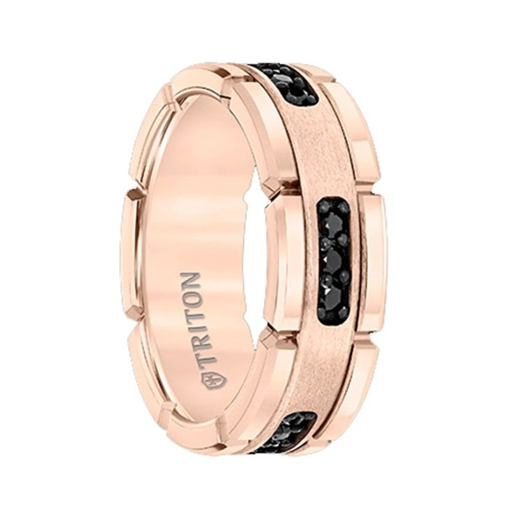 Triton Rings - ROSETTE Rose Gold Plated Flat Tungsten Ring with Silver Inlay and Black Diamonds - 8mm