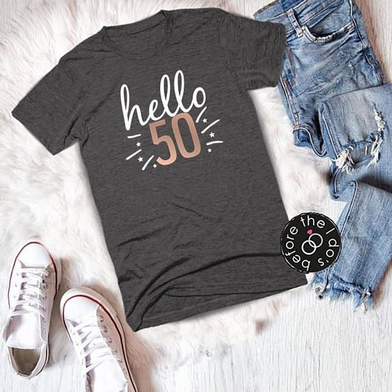 Adult Birthday Hello 50 Relaxed Boyfriend Fit Tee /// #beforetheidos #fifty #birthday