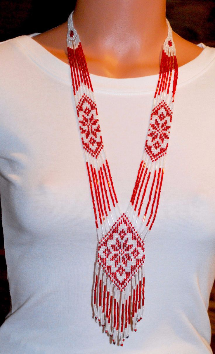 "Ukrainian hand-made long necklace ""Gerdan"". Red"