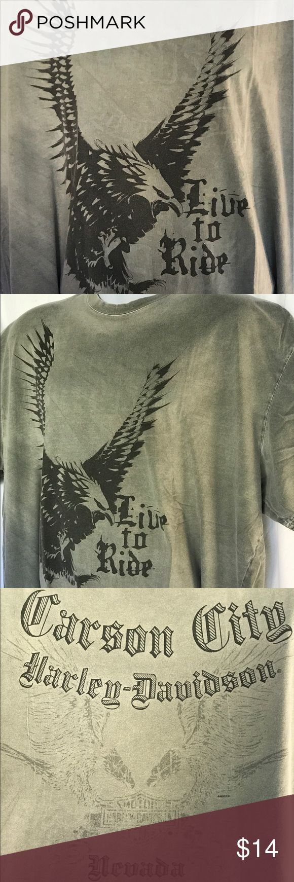 Eagle Live to Ride HARLEY-DAVIDSON Carson City Men's Eagle Live to Ride HARLEY-DAVIDSON Carson City, Nevada T-shirt 2XL Harley-Davidson Shirts Tees - Short Sleeve