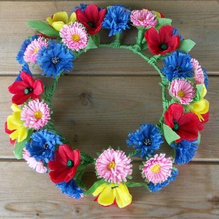 Wianek - kwiaty z bibuły