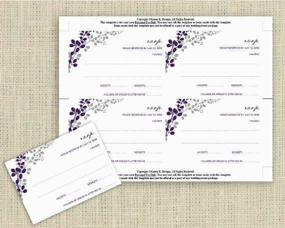Wedding RSVP Card Template Download Instantly EDITABLE TEXT – Rsvp Card Template Word