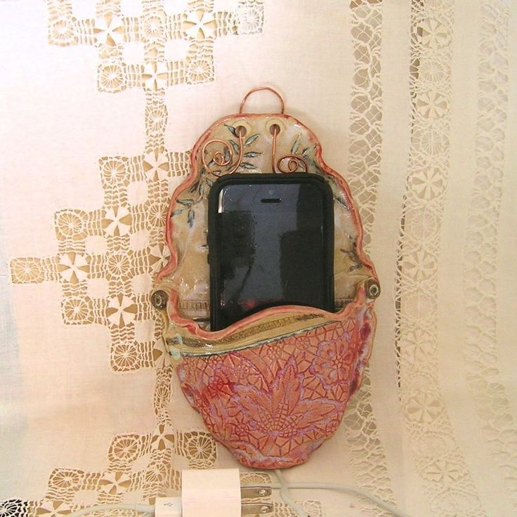 Wall Mounted Cell Phone Charging Station, Stoneware Pottery,  Victorian Red Ornate Oval Docking Station, I-Phone 5 by PorcelainJazz on Etsy