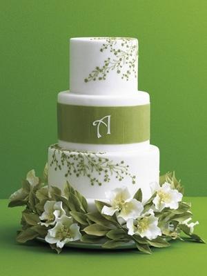 Green leaf & monogram cake