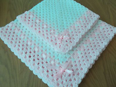 Handmade baby #crochet cot #blanket set white/pink with pink #ribbon /new,  View more on the LINK: 	http://www.zeppy.io/product/gb/2/282333449411/