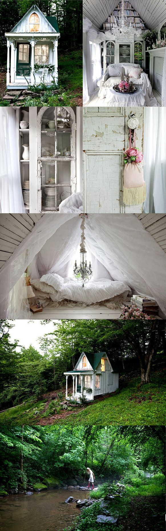 A tiny cottage, a nook, a beautiful piece of architecture with repurposed finds of refinement.