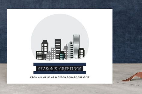 City Scape Snow Globe Business Holiday Cards