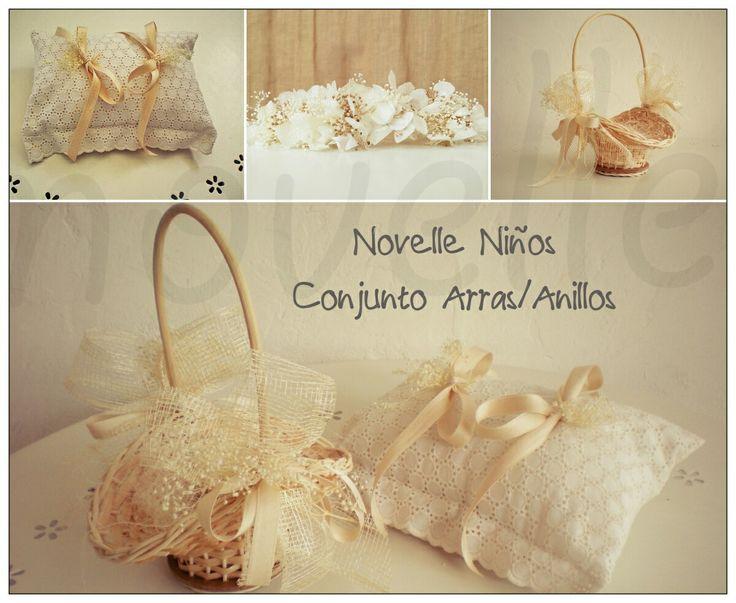 NOVELLE NIÑOS-Cojin anillos y cesta arras