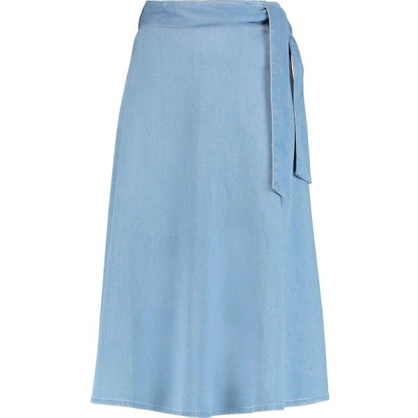IRIS & INK   Marissa tie-waist denim midi skirt (560 MAD) ❤ liked on Polyvore featuring skirts, light blue midi skirt, light blue skirts, blue denim skirt, blue skirts and mid-calf skirt