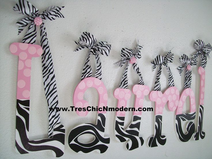 wall hanging letter nursery wooden  letter personalized hand painted letters hot pink zebra print pink brown zebra print  cocalo jacana. $15.00, via Etsy.