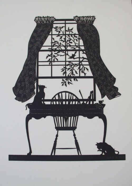 Open Birdcage Silhouette Afternoon Tea with Cat...
