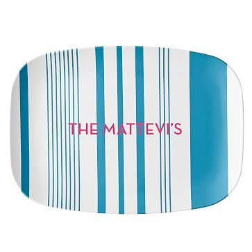 Personalized Melamine Tray, Striped