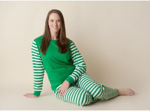 PRE-ORDER Unisex Green and White Stripe and Green and White Polka Dot Personalized Christmas Pajamas, Matching Family PJS by OhSewSoCute on Etsy