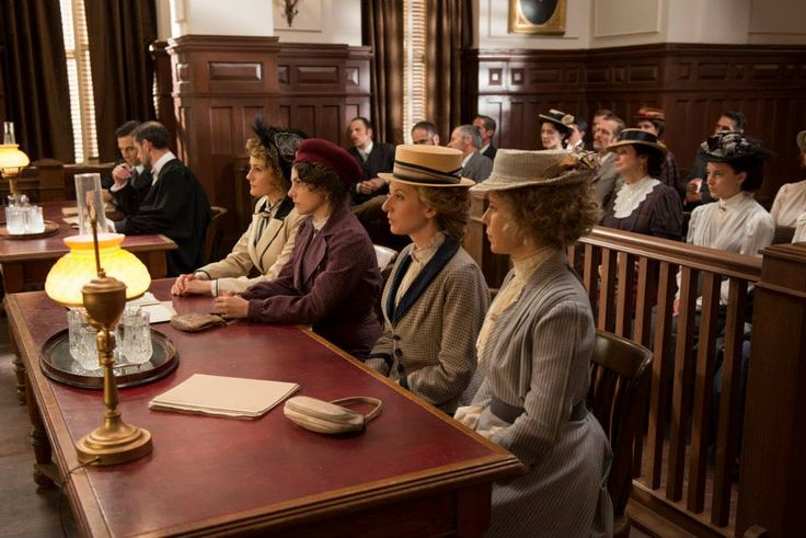 Leslie Garland (Giacomo Gianniotti) and the Crown Attorney (James Downing) with Dr. Ogdon (Helene Joy), Dr. Grace (Georgina Reilly), Kathleen King (Trenna Keating) and Margaret Haile (Nicole Underhay) together in the courtroom.