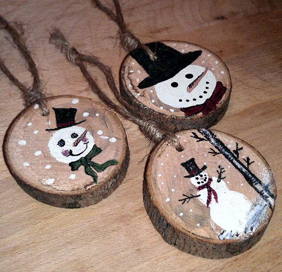 Snowman Ornaments! (Every year, I always save the part of the trunk that my Dad cuts off...now I know what I'm going to start doing with it!!)