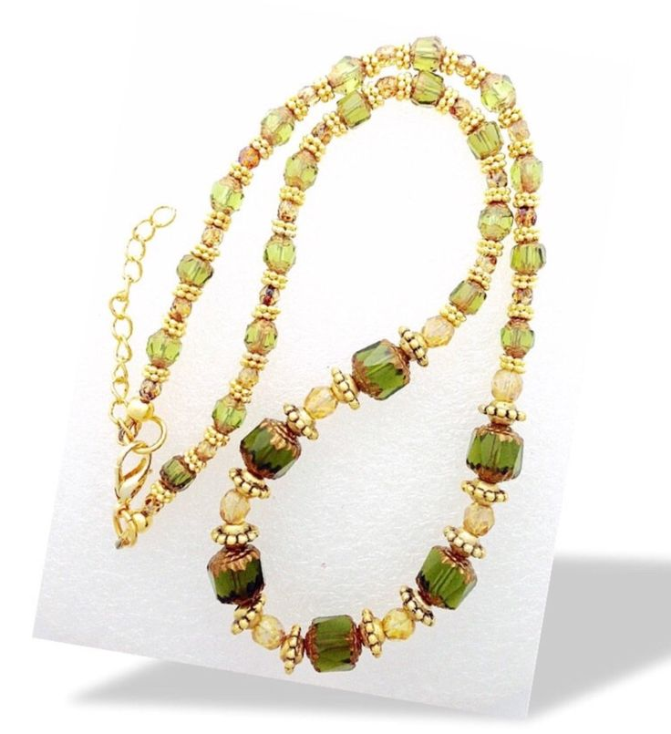 Green and topaz beaded necklace