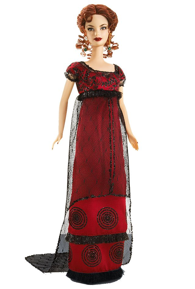 Designed by Sharon Zuckerman, Titanic Barbie® doll is a vision in red, with fiery curls and a glamorous crimson gown accented with a beautiful black lace overlay. Taking its cues from pre-flapper style and early 20th century sensibility, this doll is every bit as elegant as the characters portrayed in the 1997 hit.