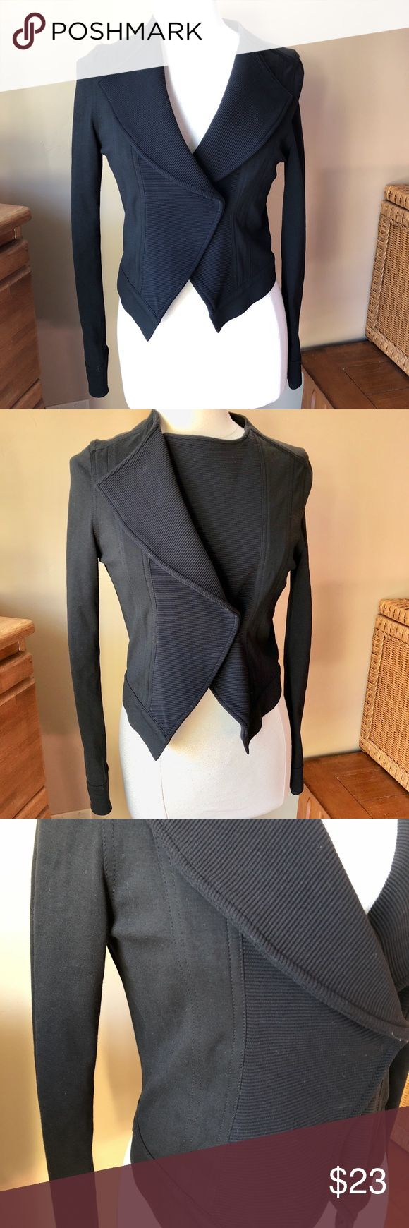 7 For All Mankind Black Jacket Stylish jacket with lapels that can be worn open or closed; snap closure. See last photo for buttons, which have black chipped off parts of top of buttons. Fabric tags shown in photo. Shown on Size 6/8 mannequin (mannequin measures 37-26-37.) 👠👗👜 Check out $6 section of closet, before sold items. All $6 items final price unless bundled. 15% bundle discount. 🚫NO MODELING 🚫NO TRADES 7 For All Mankind Jackets & Coats