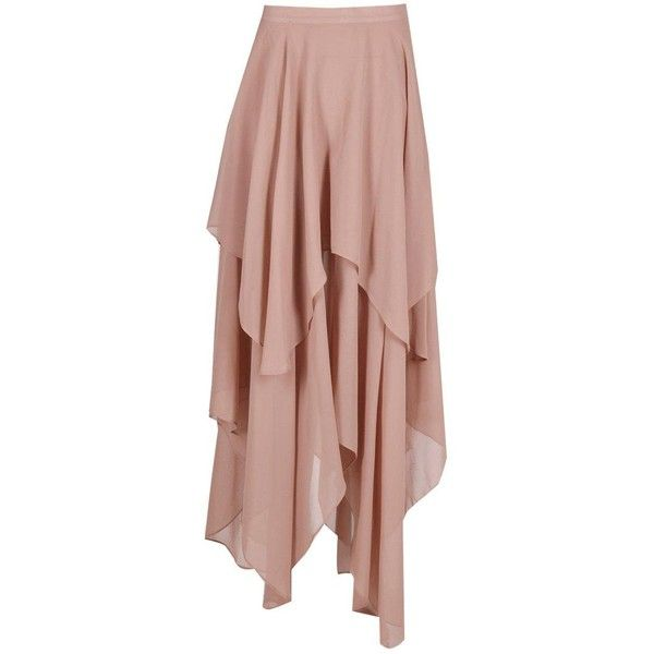 Aria Ruffle Hem High Low Maxi Skirt (11 ILS) ❤ liked on Polyvore featuring skirts, brown maxi skirt, hi lo skirt, floor length skirt, flounce hem skirt and ankle length skirt