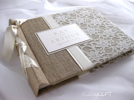 burlap and lace wedding decorations | Wedding Ideas / Burlap and lace guest book @Jennifer Britton ??