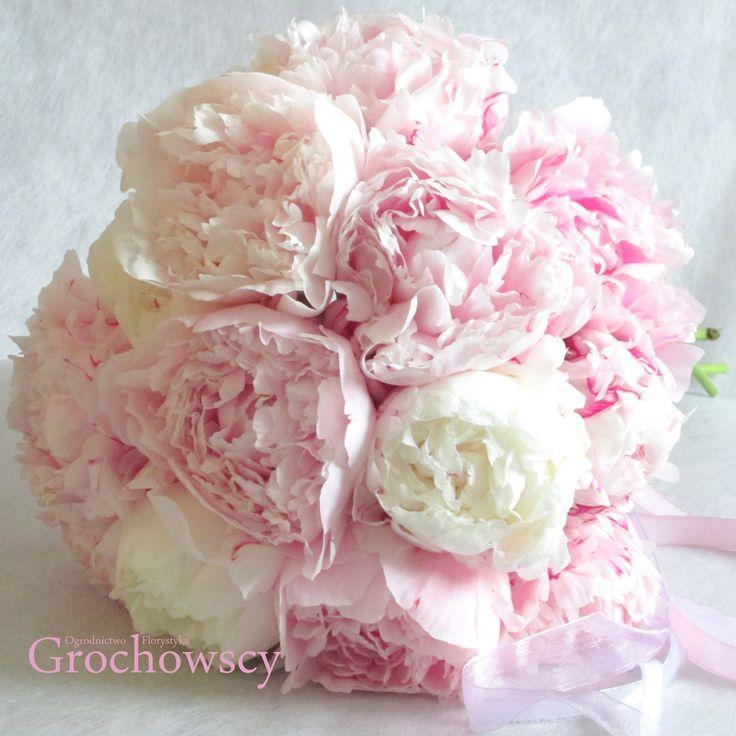 bukiet ślubny Człuchów  pink peonies wedding bouquet #piwonie #peonie