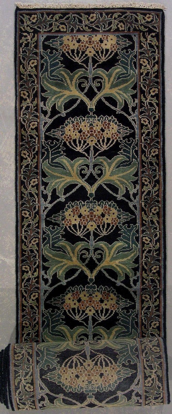 Signed Black 3X35 William Morris Art & Craft Hand Knotted Wool Runner Rug Carpet | eBay