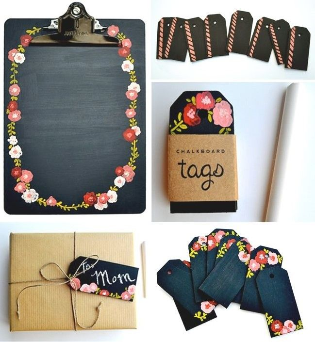 Decorated clip board painted with black board paint and flowers + a set of gift tags