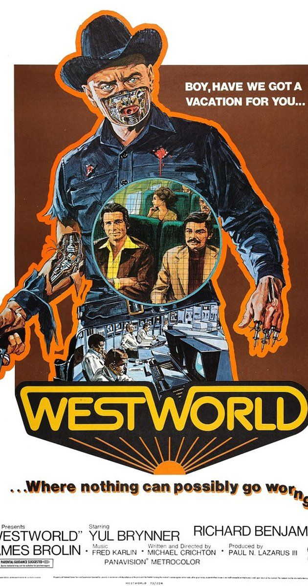 Directed by Michael Crichton.  With Yul Brynner, Richard Benjamin, James Brolin, Norman Bartold. A robot malfunction creates havoc and terror for unsuspecting vacationers at a futuristic, adult-themed amusement park.