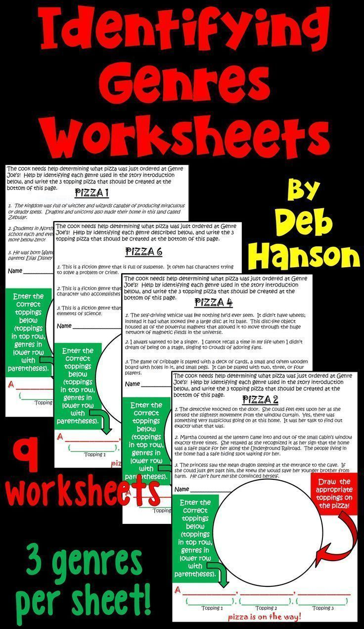 Genres Identification Activity Game Featuring Pizza Reading Genres Worksheets Third Grade Language Arts Activities