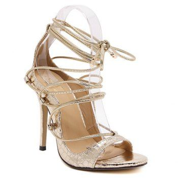Fashionable Lace-Up and Stiletto Heel Design Women's Sandals $36.05