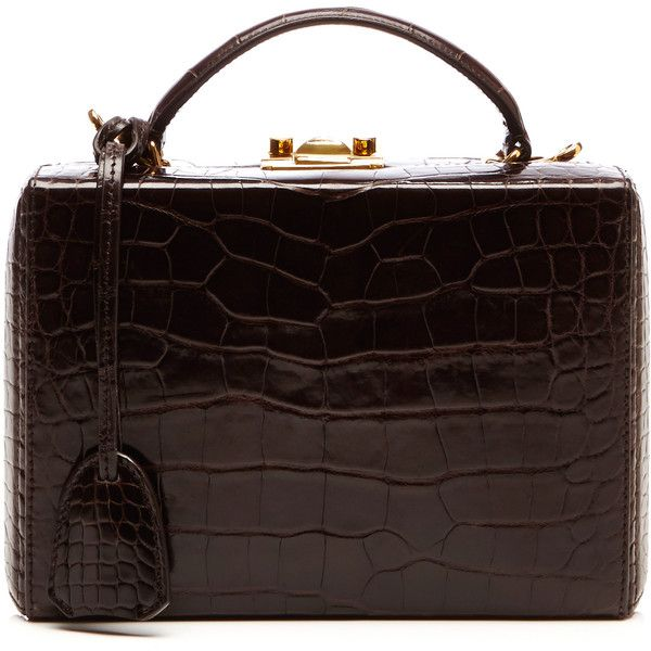 Mark Cross Small Brown Crocodile Top Handle Trunk (260.400 ARS) ❤ liked on Polyvore featuring bags, handbags, hand bags, brown hand bags, croc handbags, mark cross purse and brown crocodile handbag